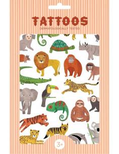 2 planches de tatouages animaux de la Jungle