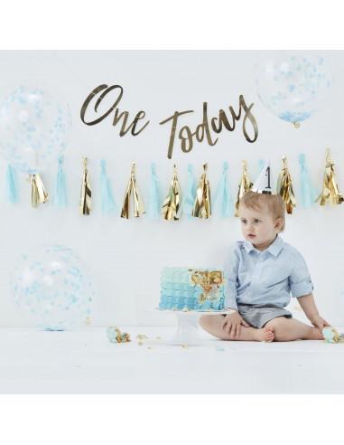 Kit décoration premier anniversaire bleu et or