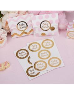 25 stickers dorés écriture Baby Shower