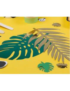 6 feuilles tropicales en carton vertes et dorées