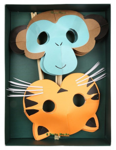 8 masques animaux de la jungle meri meri