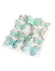 10 papillons décoratifs vert menthe