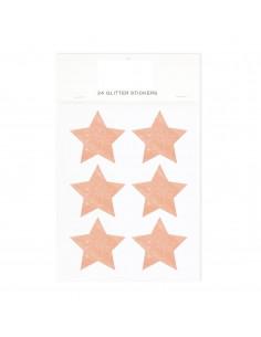 24 autocollants étoiles pailletées rose gold