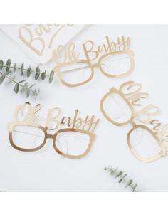 """8 lunettes en carton doré """"Oh Baby"""""""