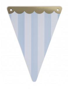 5 fanions triangles rayés bleu et blanc avec frise dorée
