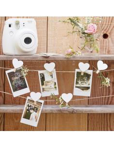 16 pinces bois avec coeur blanc et ficelle naturelle