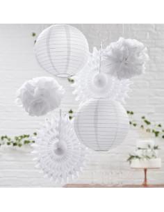 Ensemble de 6 décorations en papier blanc