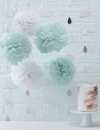 Pompons, Lampions Déco Baby Shower