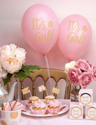 Baby Shower Rose Pastel et Or