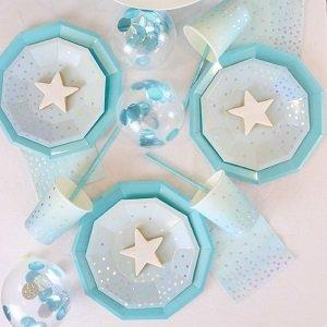 baby-shower-bleu-ciel-argent-vaisselle-jetable
