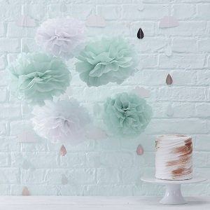 baby-shower-hello-world-pompons-vert-menthe-blanc