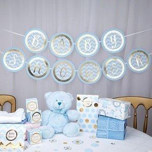 baby-shower-bleu-et-or-guirlande-vaisselle-jetable