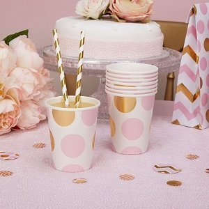 anniversaire-1-an-theme-rose-et-or-gobelets-pois