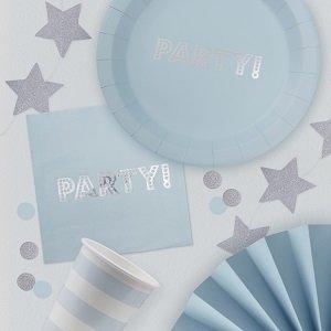 anniversaire-adulte-theme-bleu-ciel-argent-vaisselle-jetable