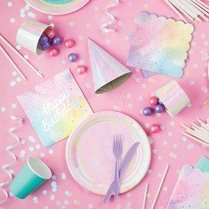 anniversaire-theme-cygne-irise-assiettes-gobelets-serviettes