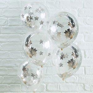anniversaire-blanc-argent-noir-ballons-confettis
