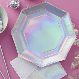 assiettes irisées decoration fete anniversaire iridescent paper plates