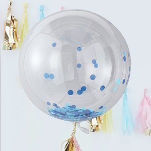 anniversaire-garcon-bleu-or-ballon-confettis