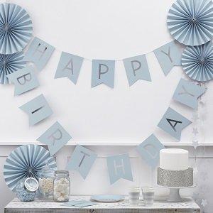 decoration-anniversaire-1 an-garcon-guirlande-happy-birthday-bleu-argent