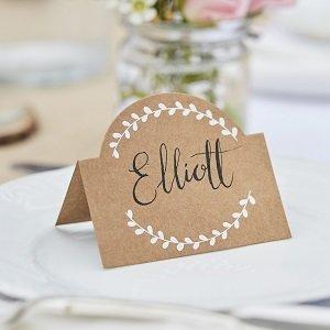 marque-place-bapteme-decoration-de-table-bapteme-marque-place-kraft-fleurs