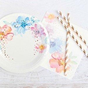bapteme-fleurs-pastels-rose-gold-vaisselle-jetable