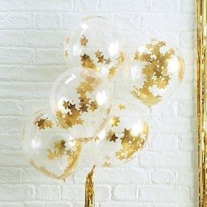 bapteme-blanc-or-ballons-confettis-dores