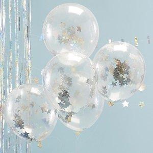 bapteme-bleu-ciel-argent-ballons-confettis-argent
