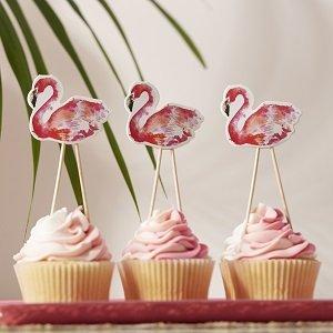 bapteme-theme-tropical-decoration-de-gateau-flamant-rose